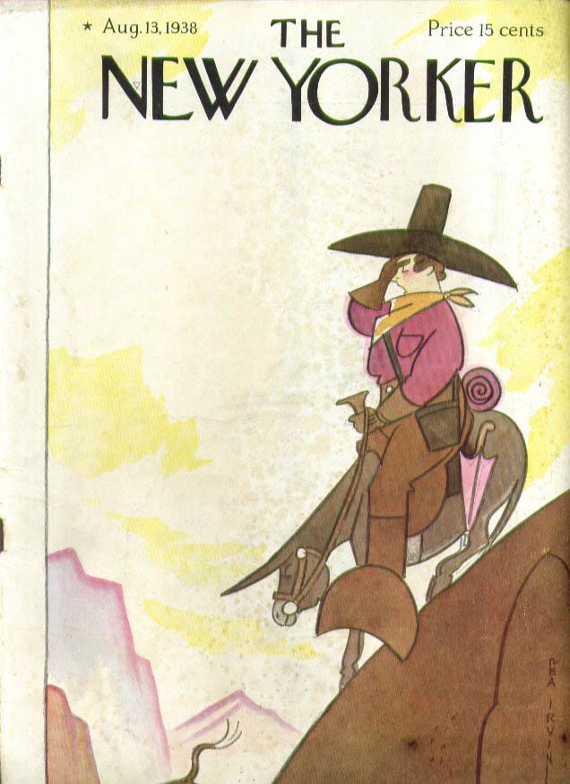 New Yorker cover Rea Irvin Fat lady tourist descends mountain on burro 8/13 1938