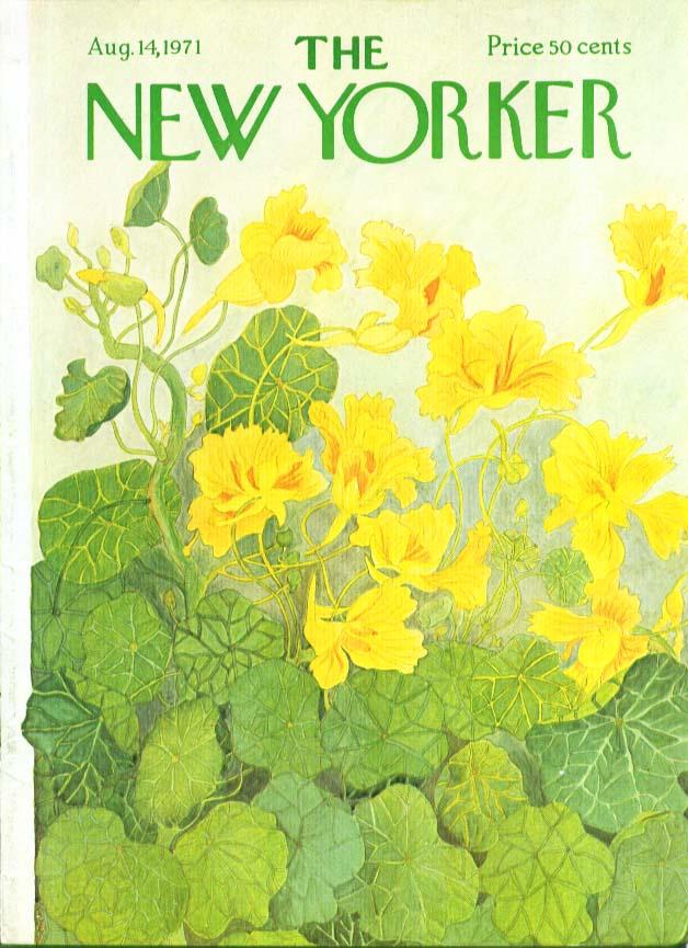 New Yorker cover Karasz Yellow flowering cabbage field 8/14 1971