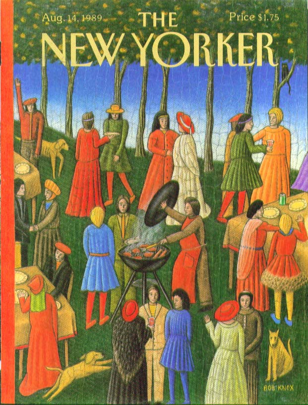New Yorker cover Bob Knox Medieval fresco-style cookout 8/14 1989