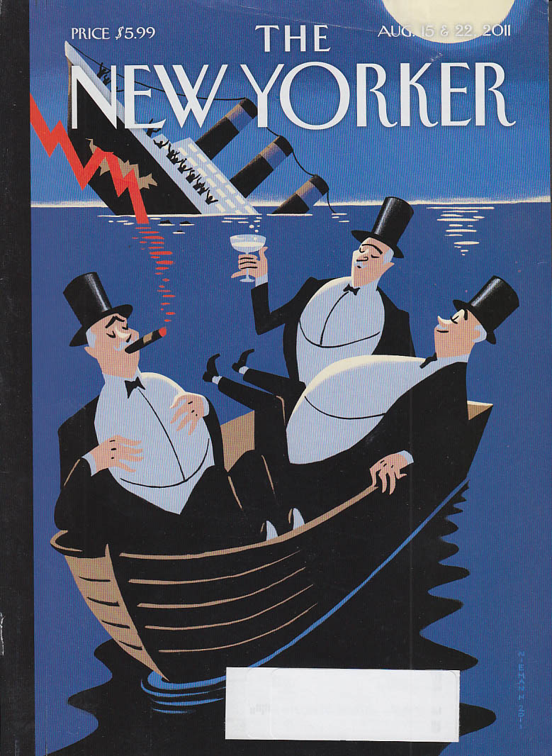 New Yorker cover 8/15 8/22 2011 Nieman: rich men in lifeboat toast as ship sinks