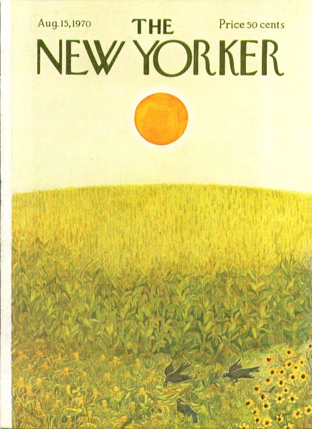 New Yorker cover Karasz bright sun over cornfield with crows 8/15 1970