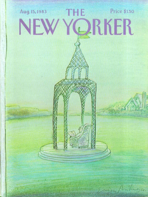 Image for New Yorker cover Mihaesco man reads in wicker 8/15 1983