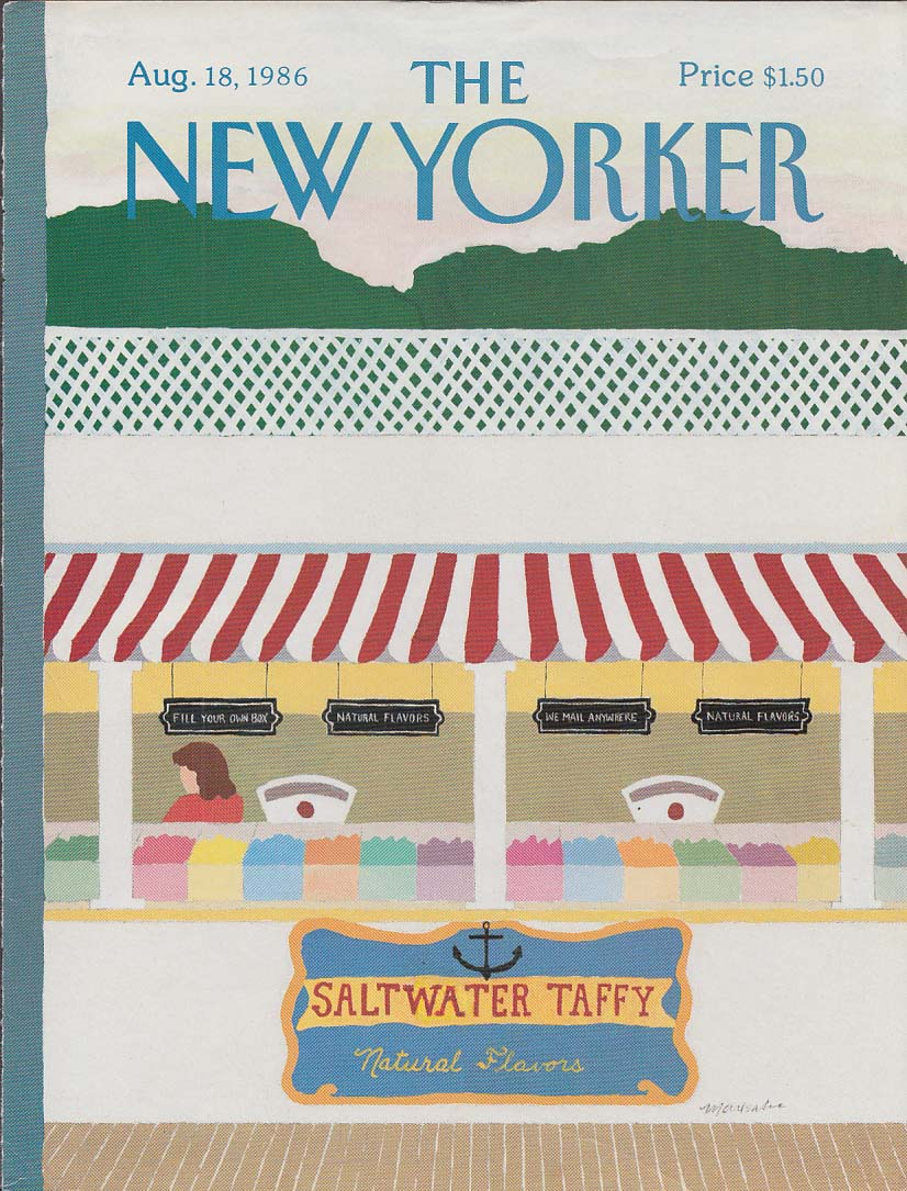 New Yorker cover 8/18 1986 Marisabina saltwater taffy stand on boardwalk