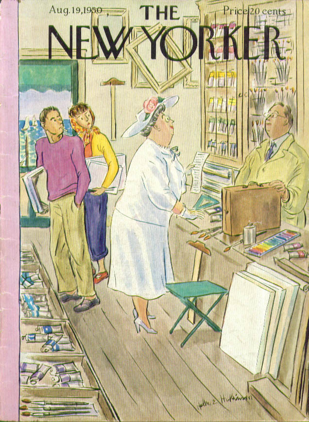 Image for New Yorker cover Helen Hokinson matronly summer paint shopping 8/19 1950