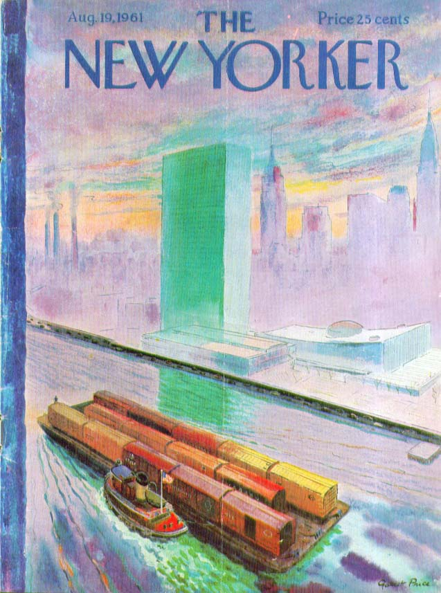 New Yorker cover Price tugboat freightcars 8/19 1961