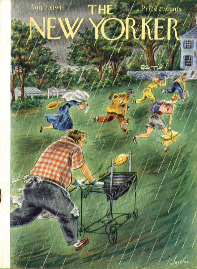 New Yorker cover Alajalov rushing the picnic out of the rain 8/20 1949