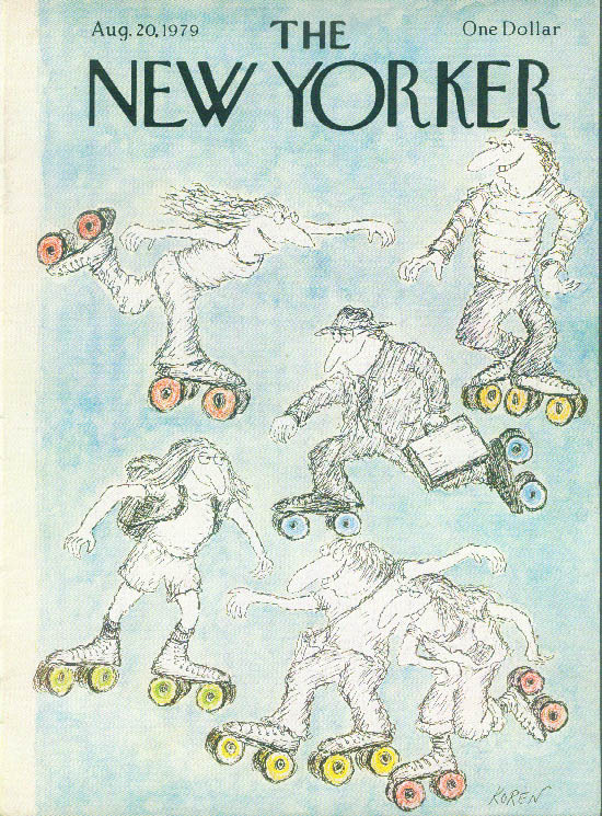 Image for New Yorker cover Koren everyone rollerskating 8/20 1979