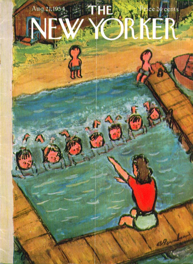 New Yorker cover Birnbaum swimming lesson 8/21 1954