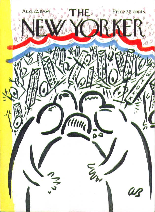 New Yorker cover Birnbaum convention huddle 8/22 1964