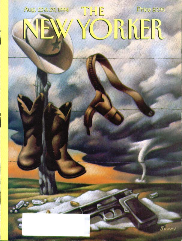 New Yorker cover Benny automatic pistol sheriff cowboy boots holster 8/22 1994