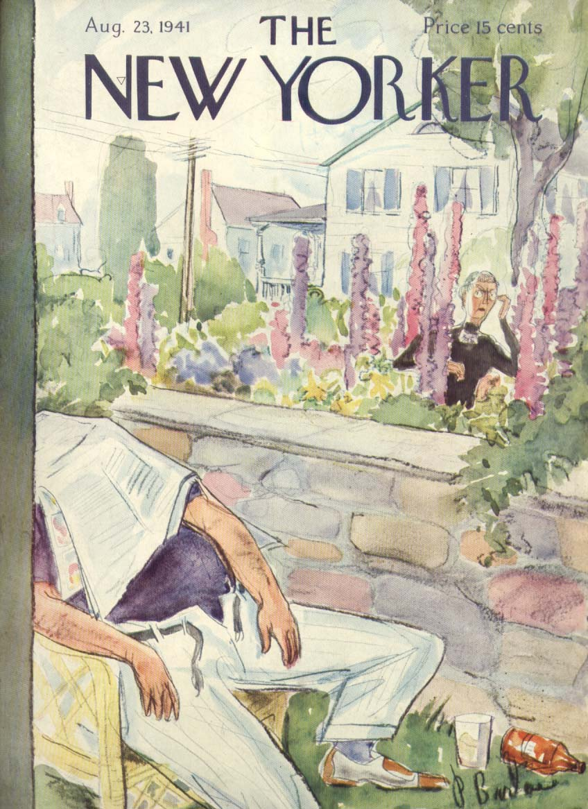 New Yorker cover Barlow fat man dozes in back yard 8/23 1941