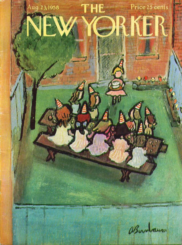 New Yorker cover Birnbaum kids birthday party 8/23 1958