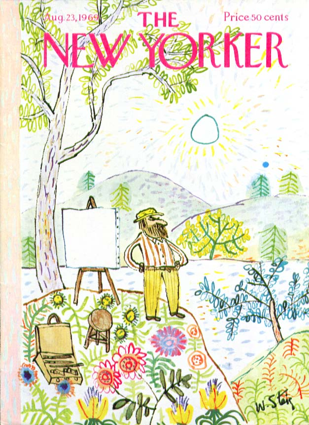 New Yorker cover Steig painter glowers at colorful landscape 8/23 1969