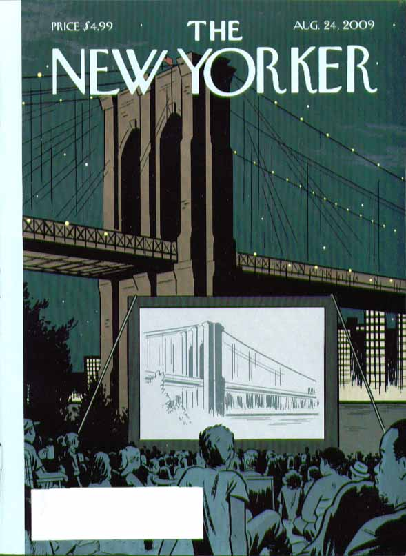 New Yorker cover Adrian Tomine Brooklyn Bridge film in front of bridge 8/24 2009