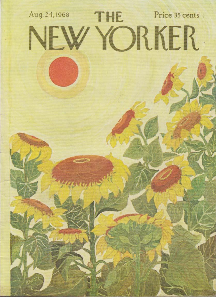 New Yorker cover Karasz intense sun wilts sunflaowers 8/24 1968