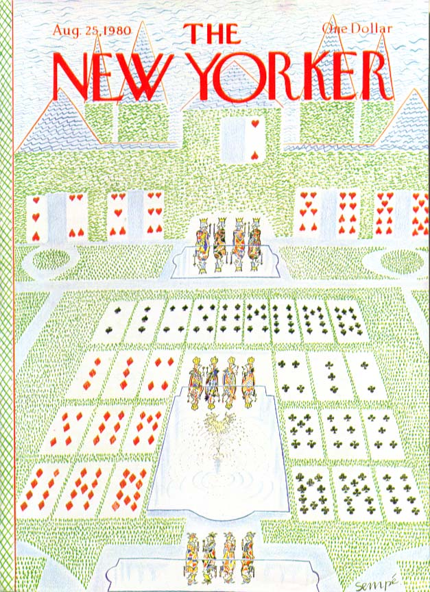 New Yorker cover Sempe formal garden laid out 8/25 1980