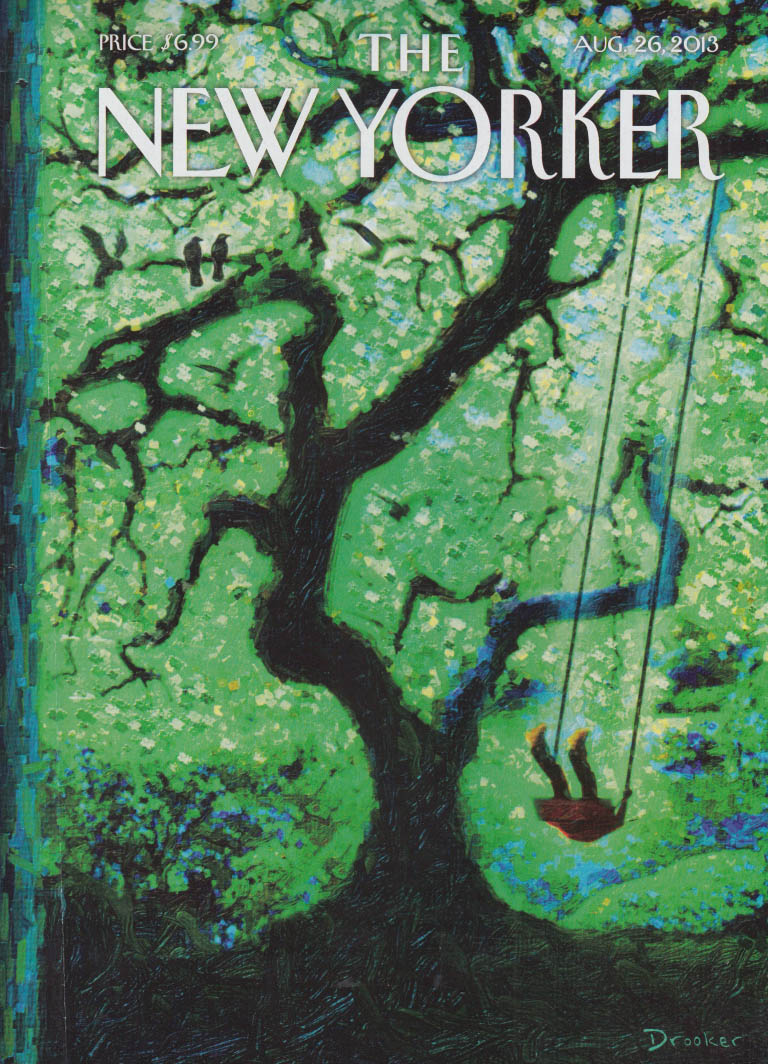 New Yorker cover 8/26 2013 Drooker: swinging on a swing on huge tree