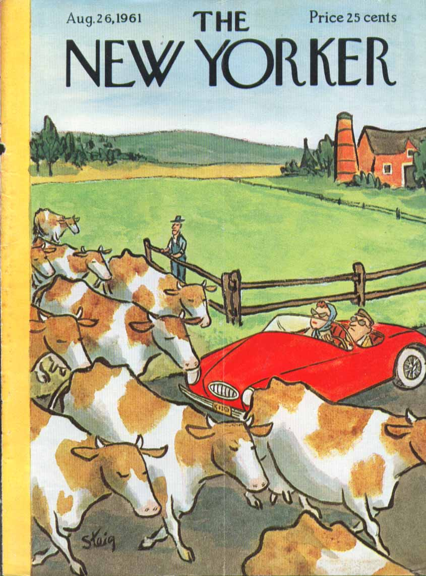 New Yorker cover Steig cows block sports car 8/26 1961