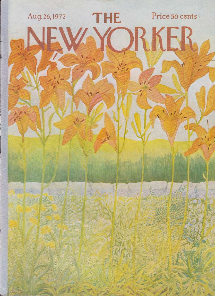 New Yorker cover Karasz explosion of daylilies by stone wall 8/26 1972