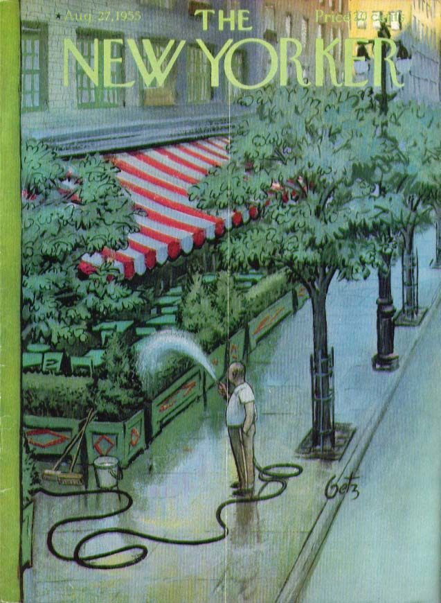 Image for New Yorker cover Getz restaurateur watering 8/27 1955