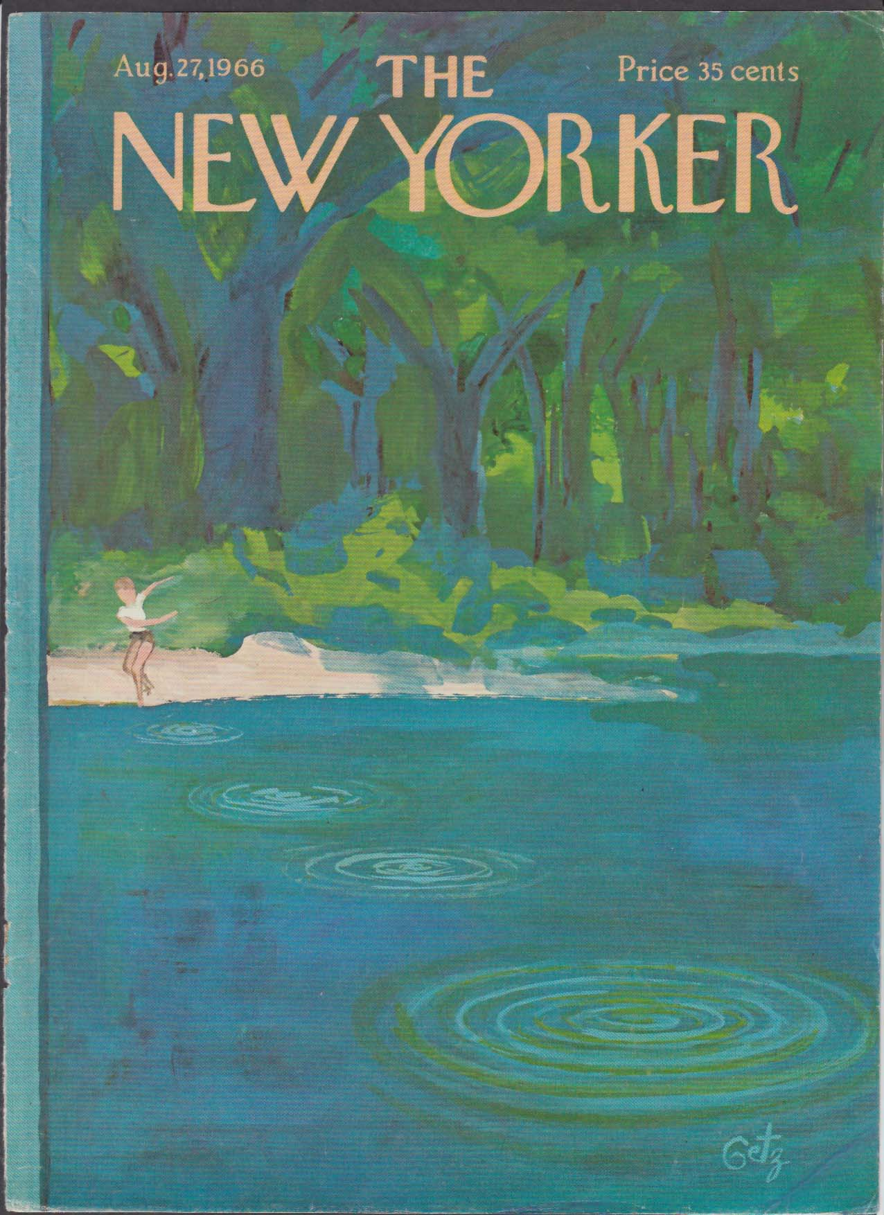 New Yorker cover Getz child skipping a rock on pond in woods 8/27 1966