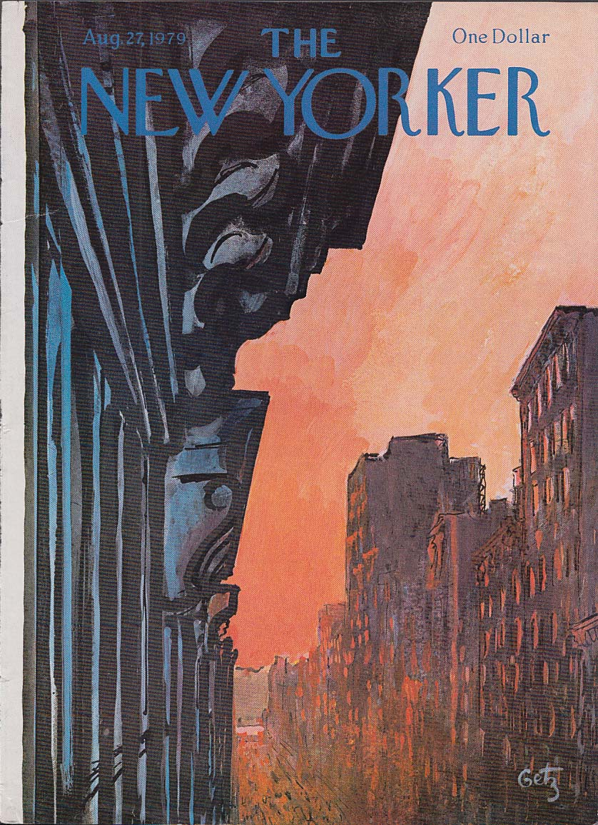 New Yorker cover 8/27 1979 Getz sunset illuminates city buildings