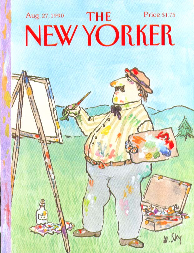 New Yorker cover Steig Artist's shirt stains match his palette 8/27 1990