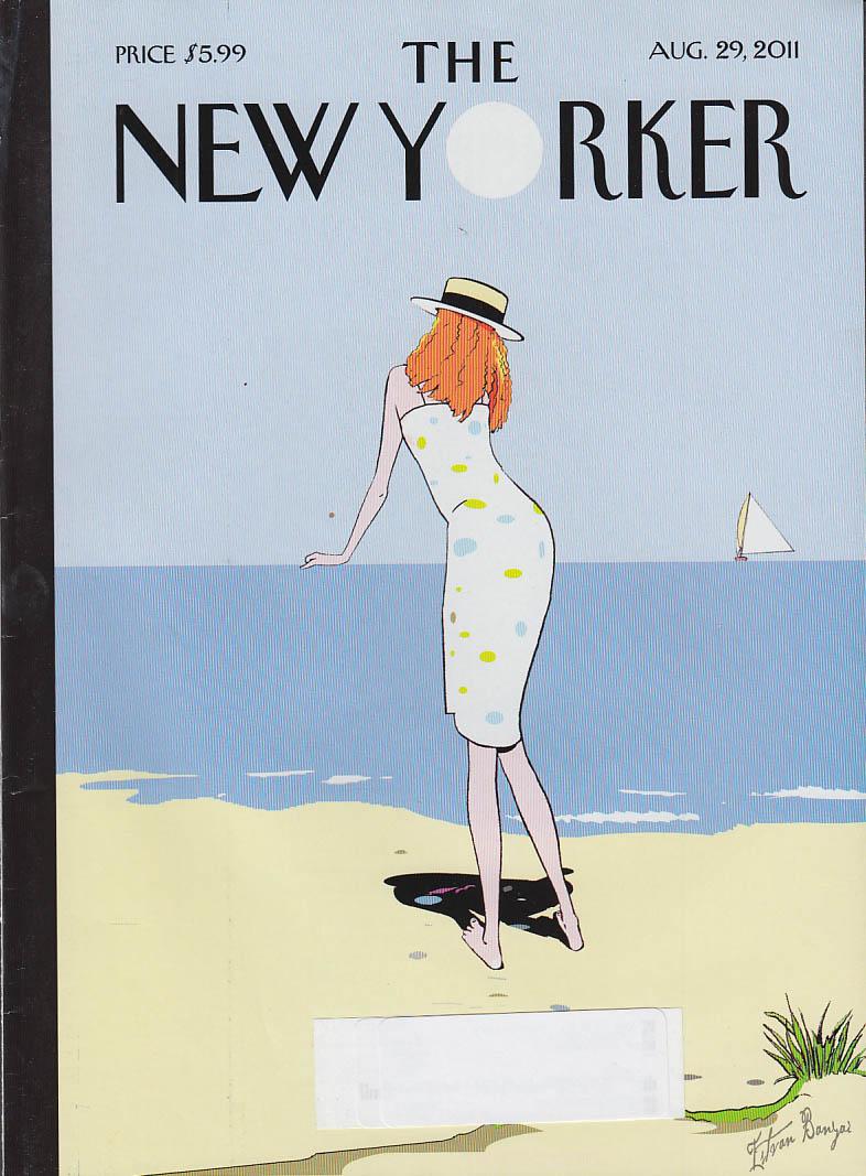 New Yorker cover 8/29 2011 Banyai: redhead in skimmer on beach