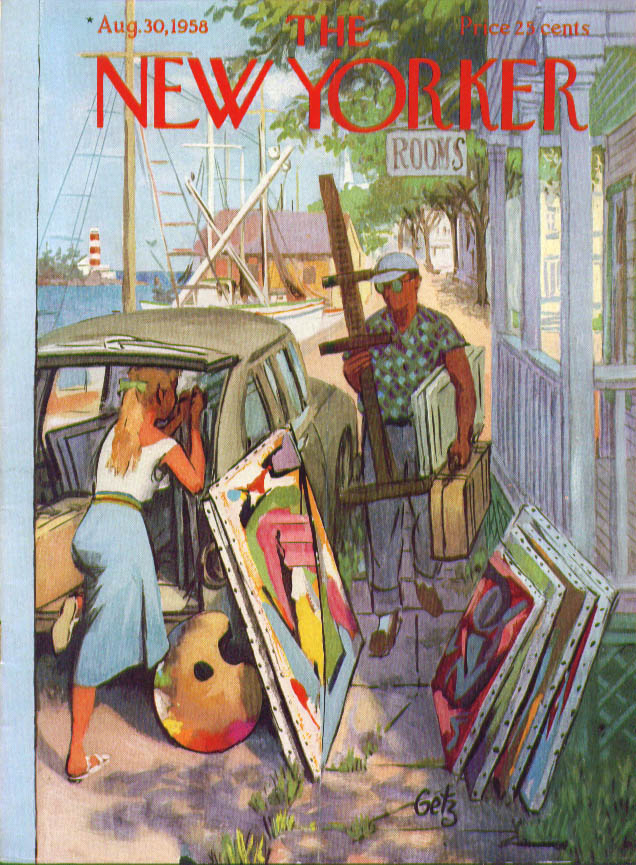 New Yorker cover Getz artists load wagon 8/30 1958
