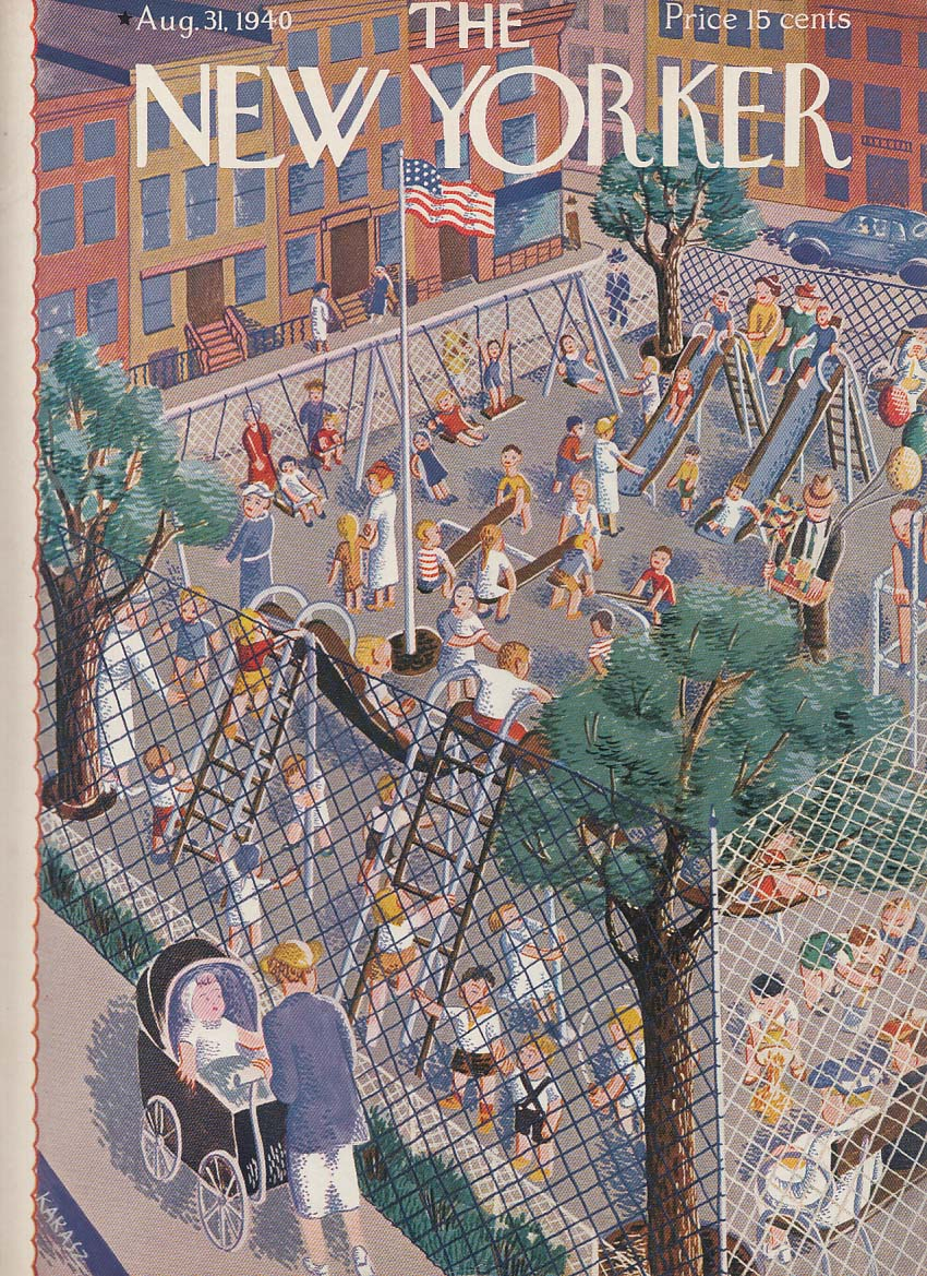 New Yorker cover 8/31 1940 Karasz fenced-in city playground in action