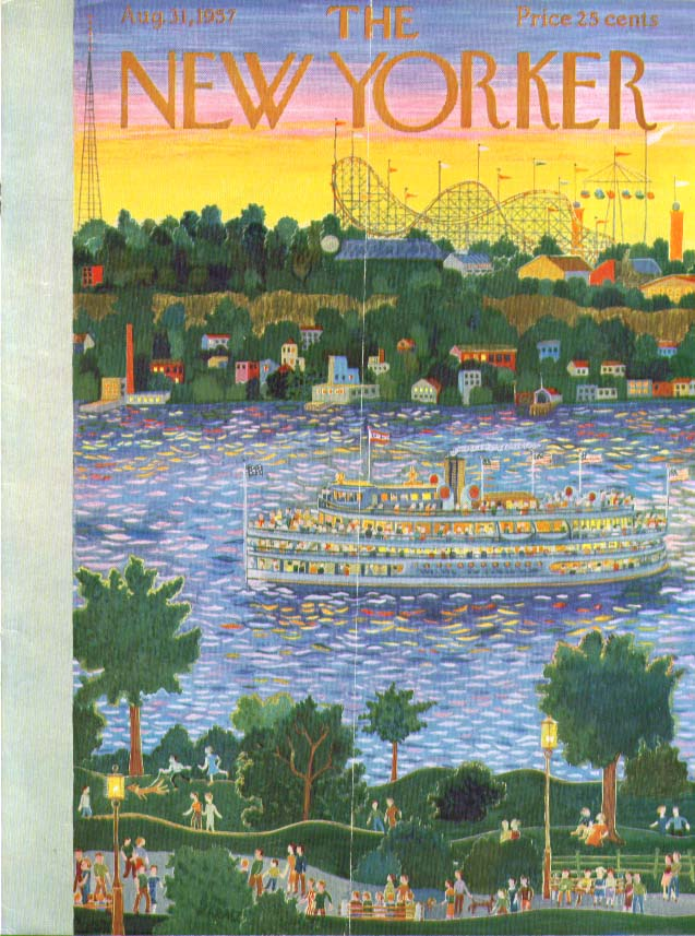 New Yorker cover Karasz riverboat passes fair 8/31 1957
