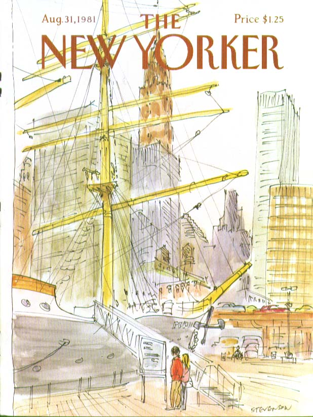 Image for New Yorker cover Stevenson visiting tall ship 8/31 1981