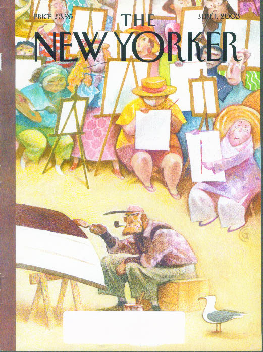 New Yorker cover CG fat lady beach artists paint man & boat 9/1 2003