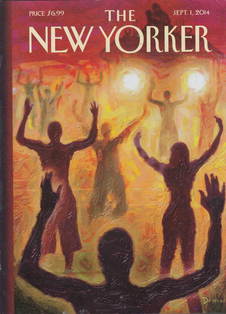 New Yorker cover 9/1 2014 Drooker: Ferguson Missouri hands up don't shoot