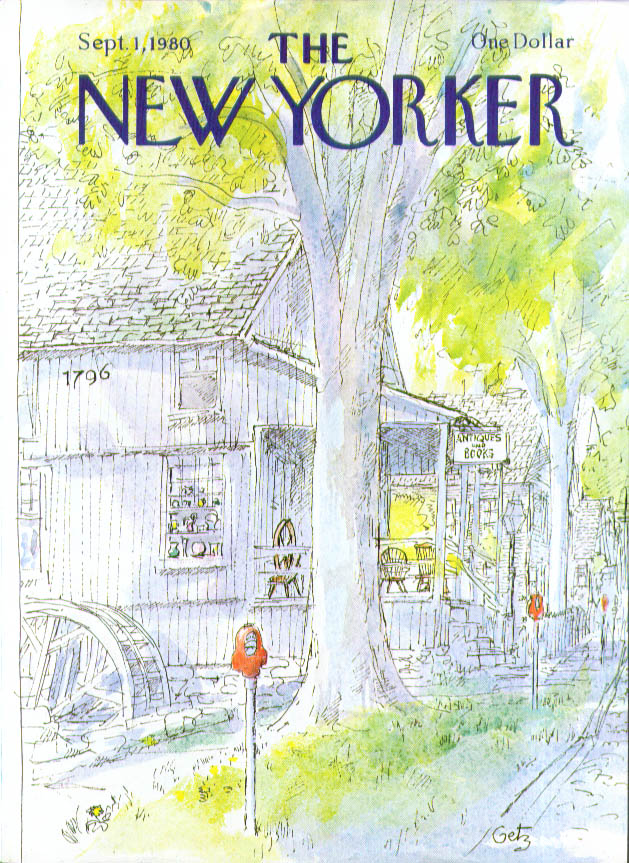 New Yorker cover Getz antique book shop autumn 9/1 1980