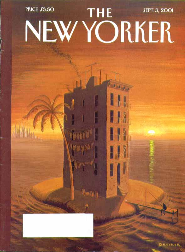 Image for New Yorker cover Eric Drooker 5-story walkup tenement on desert island 9/3 2001