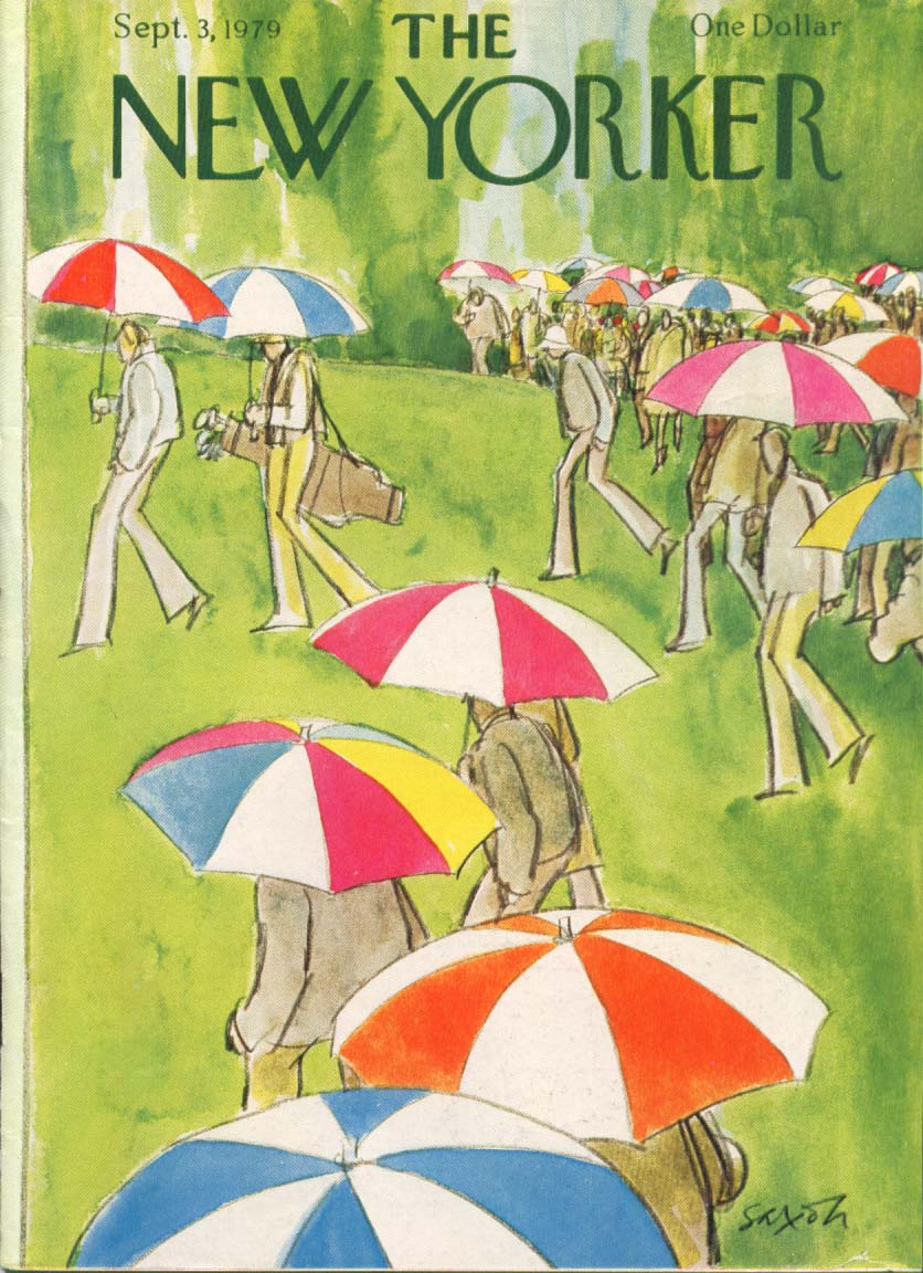 Image for New Yorker cover Saxon golfers under umbrellas 9/3 1979