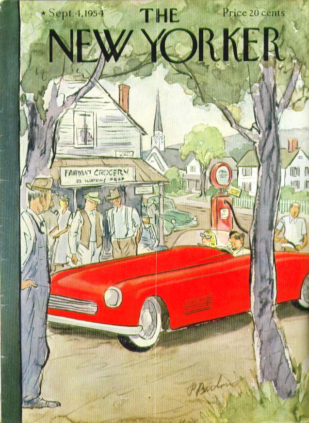 New Yorker cover Barlow red sports car 9/4 1954