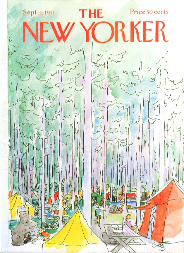 Image for New Yorker cover Getz tenting in the woods 9/4 1971