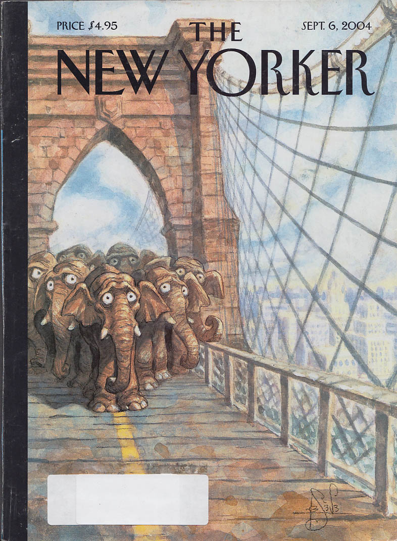 New Yorker cover Peter de Seve Elephants fear to cross Brooklyn Bridle 9/6 2004