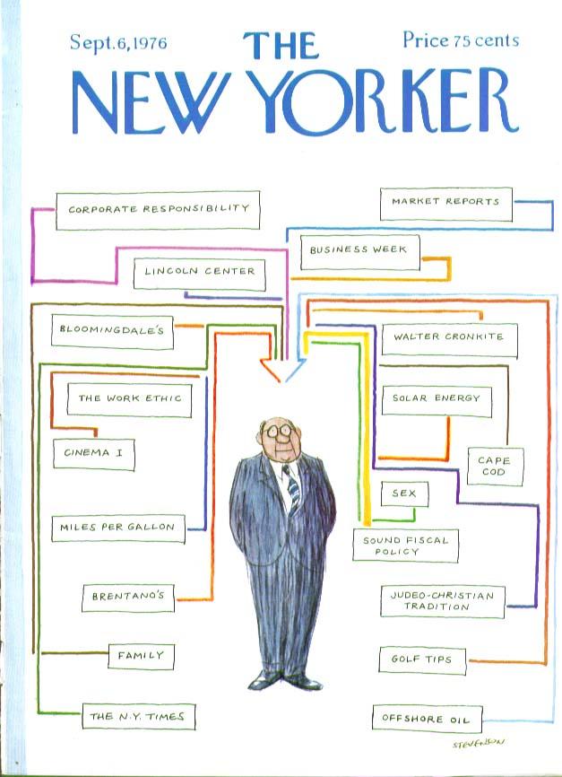 Image for New Yorker cover Stevenson organization chart 9/6 1976