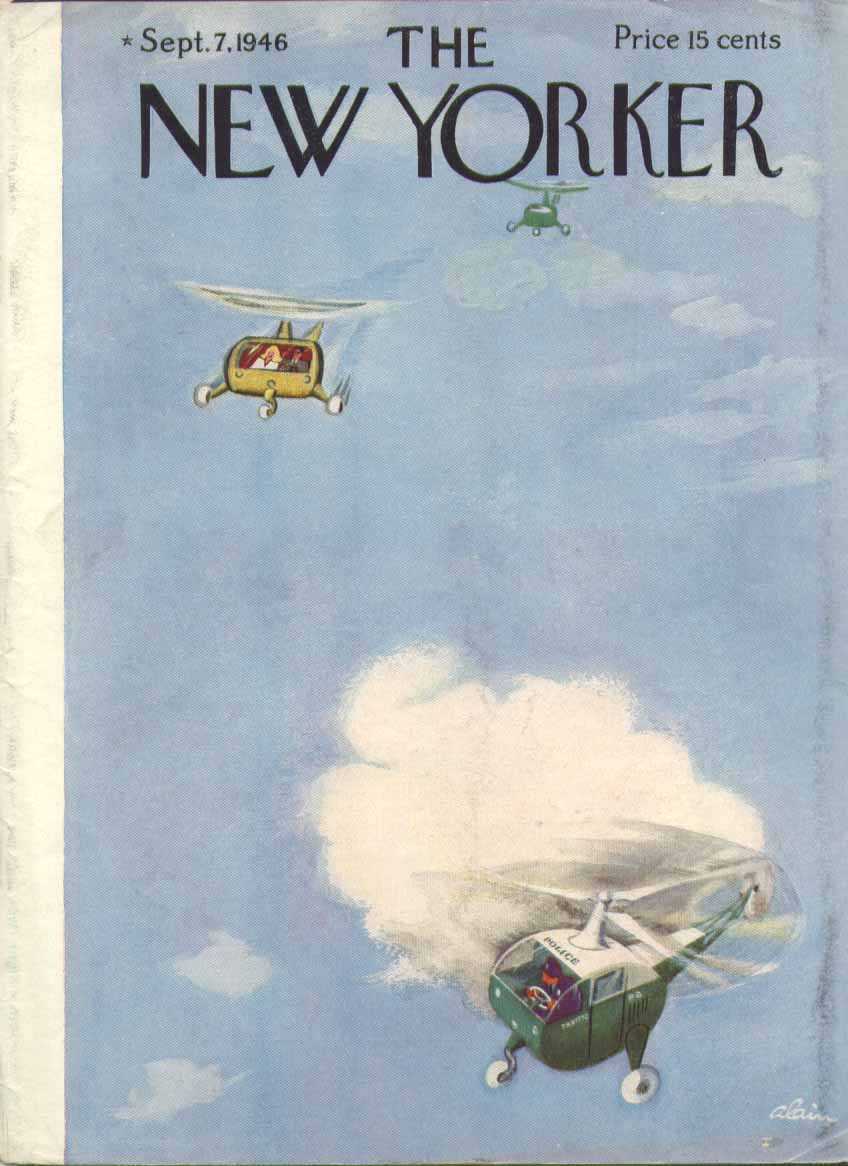 New Yorker cover Alain helicopter speed trap 9/7 1946