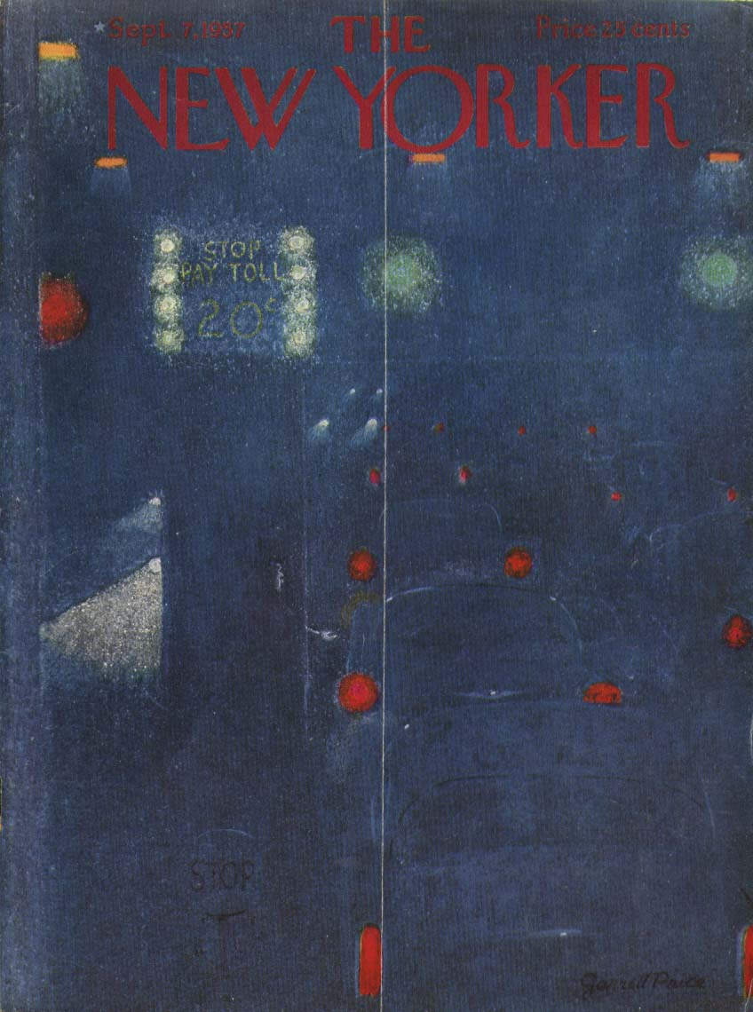 New Yorker cover Price toll booth at night 9/7 1957