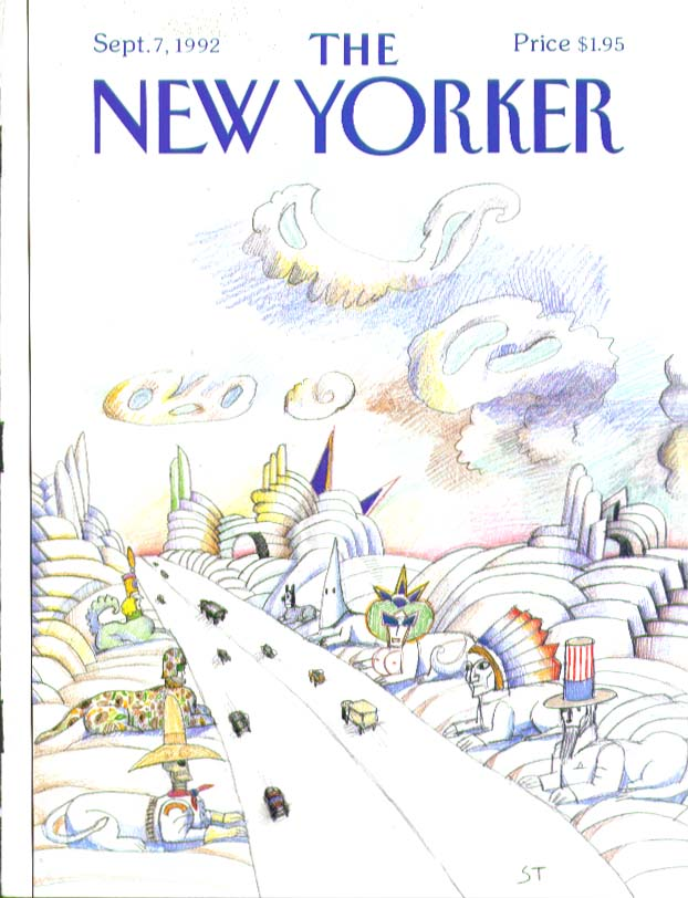 Image for New Yorker cover Steinberg American icons road 9/7 1992