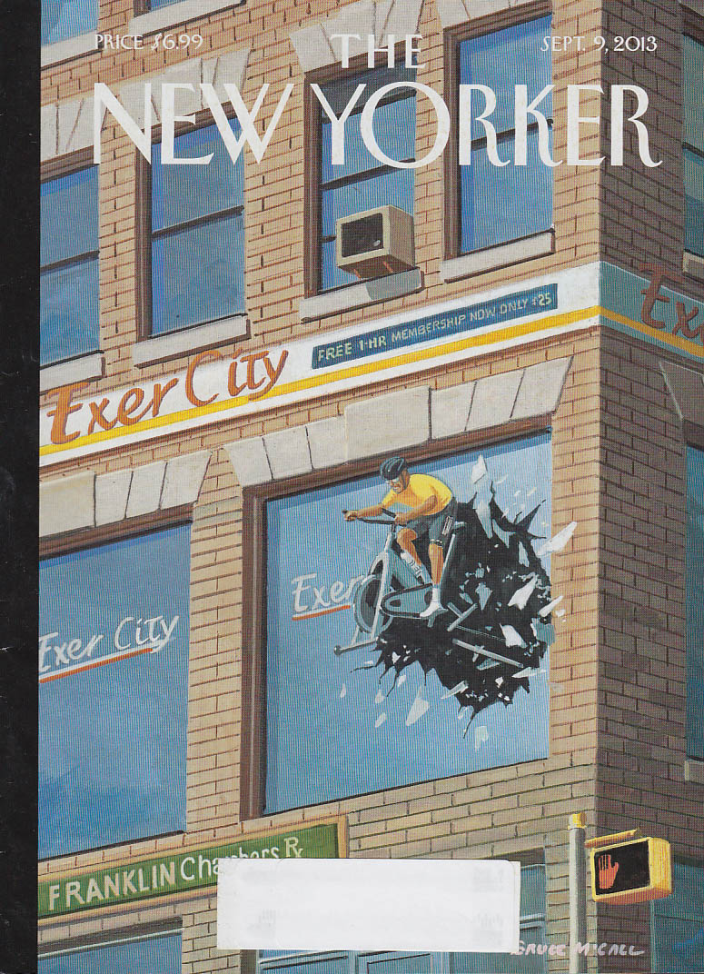 New Yorker cover 9/9 2013 McCall: Exercise cyclist crashes thru 2nd floor window