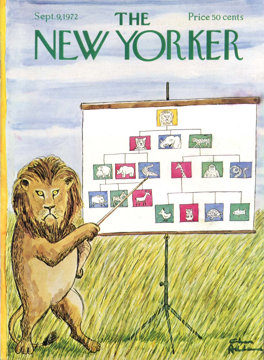 New Yorker cover Addams lion king flow chart 9/9 1972