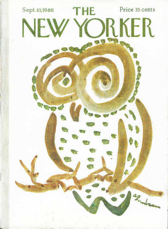 New Yorker cover Birnbaum brown & green owl 9/10 1966