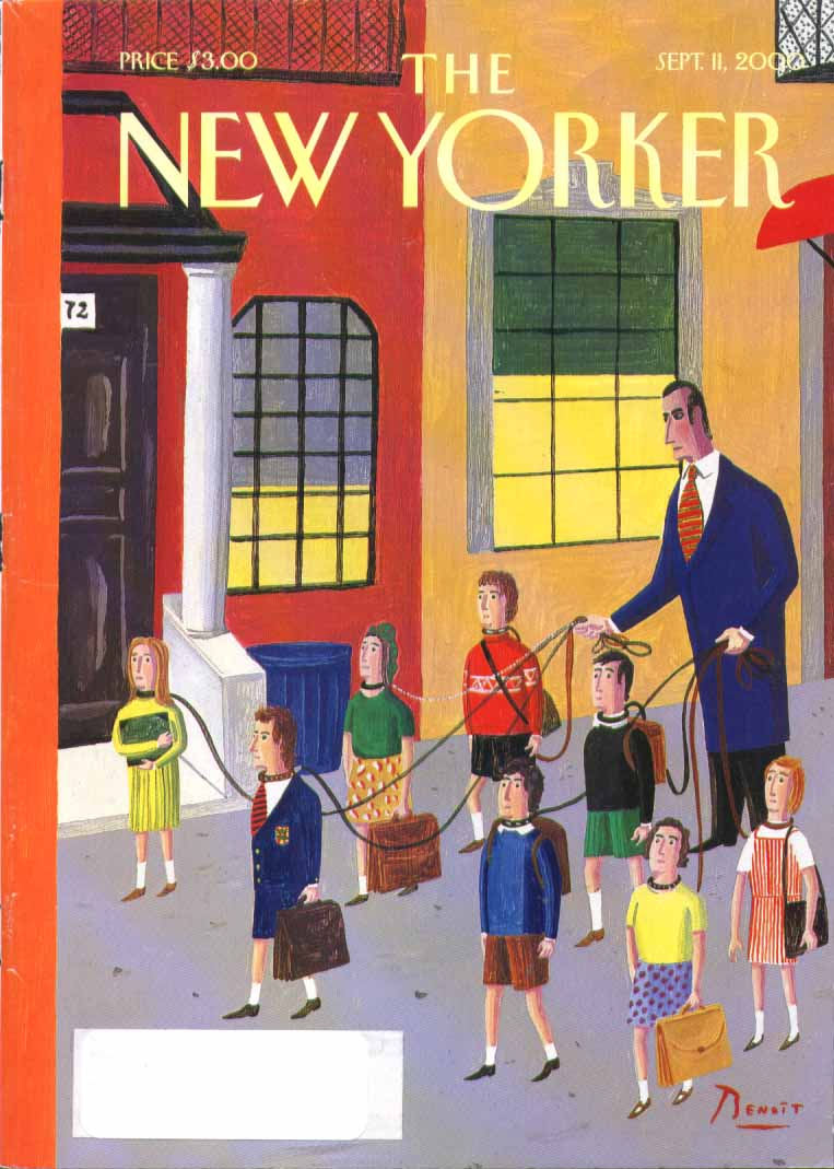 New Yorker cover Benoit schoolkids leashed 9/11 2000