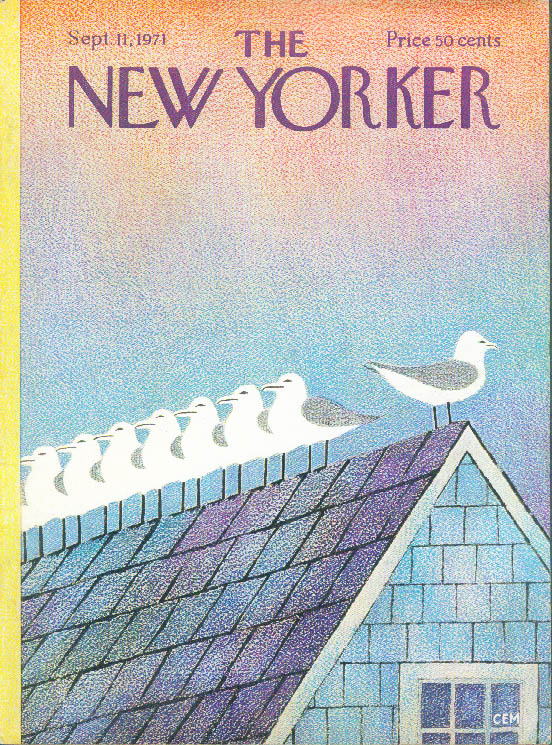 New Yorker cover Martin gulls atop roof 9/11 1971