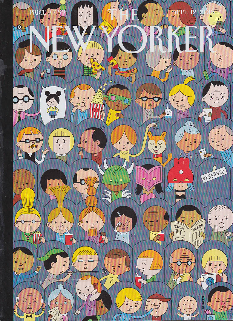 New Yorker cover Brunetti 9/12 2016 Moviegoers of all sorts eating texting etc
